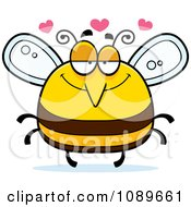 Clipart Pudgy Infatuated Bee Royalty Free Vector Illustration