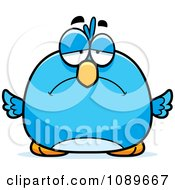 Clipart Pudgy Sad Blue Bird Royalty Free Vector Illustration by Cory Thoman