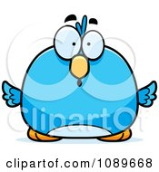 Clipart Pudgy Surprised Blue Bird Royalty Free Vector Illustration by Cory Thoman