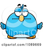 Clipart Pudgy Bored Blue Bird Royalty Free Vector Illustration by Cory Thoman