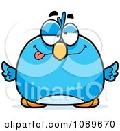 Clipart Pudgy Drunk Blue Bird Royalty Free Vector Illustration by Cory Thoman