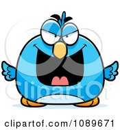 Clipart Pudgy Evil Blue Bird Royalty Free Vector Illustration by Cory Thoman