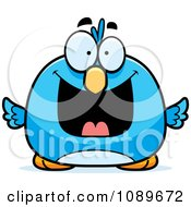 Clipart Pudgy Grinning Blue Bird Royalty Free Vector Illustration by Cory Thoman