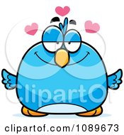Clipart Pudgy Infatuated Blue Bird Royalty Free Vector Illustration by Cory Thoman