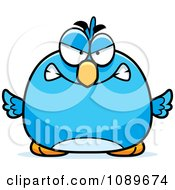 Clipart Pudgy Mad Blue Bird Royalty Free Vector Illustration by Cory Thoman