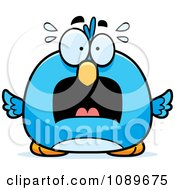 Clipart Pudgy Scared Blue Bird Royalty Free Vector Illustration by Cory Thoman