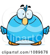 Clipart Pudgy Smiling Blue Bird Royalty Free Vector Illustration by Cory Thoman