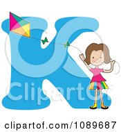 Clipart Alphabet Girl Flying A Kite Over Letter K Royalty Free Vector Illustration