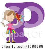 Clipart Alphabet Girl Holding A Partot Over Letter P Royalty Free Vector Illustration