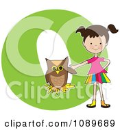 Clipart Alphabet Girl With An Owl Over Letter O Royalty Free Vector Illustration by Maria Bell