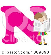 Alphabet Girl Reading The News Over Letter N