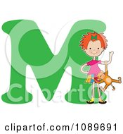 Clipart Alphabet Girl Playing With A Monkey Over Letter M Royalty Free Vector Illustration