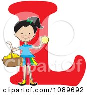 Clipart Alphabet Girl With A Basket Of Lemons Over Letter L Royalty Free Vector Illustration