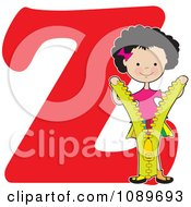 Clipart Alphabet Girl Opening A Zipper Over Letter Z Royalty Free Vector Illustration