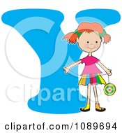Clipart Alphabet Girl Holding A Yo Yo Over Letter Y Royalty Free Vector Illustration
