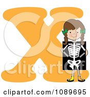 Clipart Alphabet Girl Holding An X Ray Over Letter X Royalty Free Vector Illustration