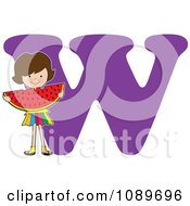 Clipart Alphabet Girl Eating Watermelon Over Letter W Royalty Free Vector Illustration