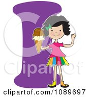Clipart Alphabet Girl Holding Ice Cream Over Letter I Royalty Free Vector Illustration by Maria Bell