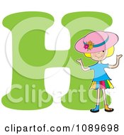 Alphabet Girl Wearing A Hat Over Letter H