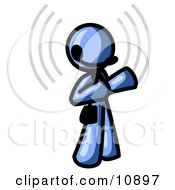 Blue Customer Service Representative Taking A Call With A Headset In A Call Center Clipart Illustration