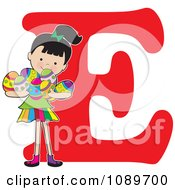 Clipart Alphabet Girl Holding Easter Eggs Over Letter E Royalty Free Vector Illustration