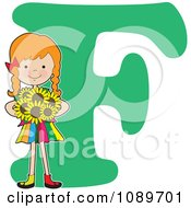 Alphabet Girl Holding Sunflowers Over Letter F