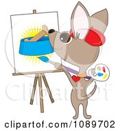 Clipart Artist Chihuahua Dog Painting A Biscuit In A Bowl Royalty Free Vector Illustration