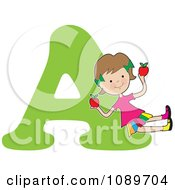 Clipart Alphabet Girl Holding Apples Over Letter A Royalty Free Vector Illustration by Maria Bell