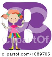 Clipart Alphabet Girl Over Letter A Royalty Free Vector Illustration by Maria Bell