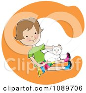 Alphabet Girl Petting A Cat Over Letter C