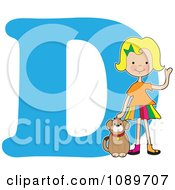 Clipart Alphabet Girl Petting A Dog Over Letter D Royalty Free Vector Illustration
