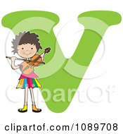Alphabet Girl Playing A Violin Over Letter V