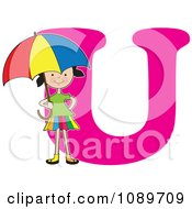Clipart Alphabet Girl Holding An Umbrella Over Letter U Royalty Free Vector Illustration