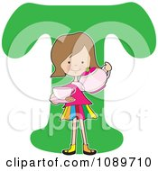 Clipart Alphabet Girl Pouring Tea Over Letter T Royalty Free Vector Illustration by Maria Bell