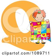 Clipart Alphabet Girl Holding A Quilt Over Letter Q Royalty Free Vector Illustration by Maria Bell