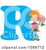Clipart Alphabet Girl Holding A Rose Over Letter R Royalty Free Vector Illustration