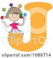 Alphabet Girl Juggling Over Letter J
