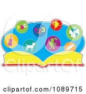 Clipart Literature Book With Educational Pictures Royalty Free Vector Illustration