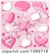 Clipart Valentine Heart Explosion And Chat Balloon Design Elements On Pink Royalty Free Vector Illustration
