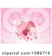 Clipart Hearts With Vines And Butterflies Over Rays Royalty Free Vector Illustration