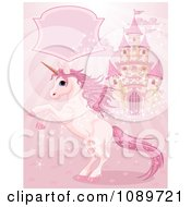 Clipart Magic Unicorn Rearing Under A Text Box By A Castle On Pink Royalty Free Vector Illustration by Pushkin