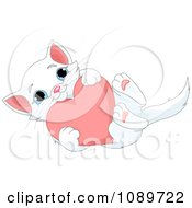 Clipart Cute White Kitten Hugging A Valentine Heart Royalty Free Vector Illustration