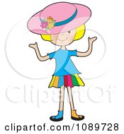 Blond Girl Wearing A Hat And Shrugging