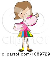 Clipart Girl Pouring Tea Royalty Free Vector Illustration by Maria Bell