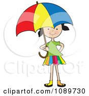 Clipart Girl Under A Colorful Umbrella Royalty Free Vector Illustration by Maria Bell