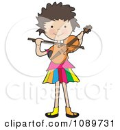 Clipart Girl Playing A Violin Royalty Free Vector Illustration