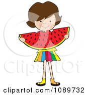 Clipart Girl Eating A Large Watermelon Slice Royalty Free Vector Illustration by Maria Bell