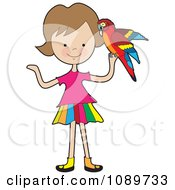 Clipart Girl Holding A Parrot Royalty Free Vector Illustration