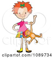 Clipart Red Haired Girl Playing With A Monkey Royalty Free Vector Illustration