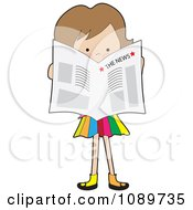 Girl Standing And Reading A Newspaper